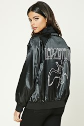 Forever 21 Led Zeppelin Bomber Jacket Black White