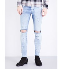 Represent Destroyer Skinny Stretch Denim Jeans Acid Blue