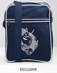 Reclaimed Vintage Flight Bag With Koi Carp Print Navy
