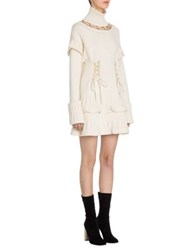Alexander Mcqueen Turtleneck Lace Up Sweater Dress Ivory