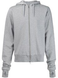 Hood By Air Embroidered Zipped Hoodie Grey