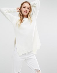 Daisy Street Ribbed Knitted Jumper With Side Splits Cream