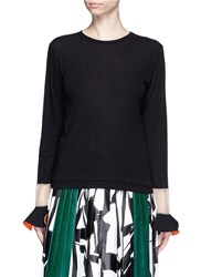 Toga Archives Contrast Flared Cuff Jersey Top Black