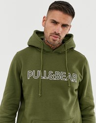 Pull And Bear Logo Hoodie In Khaki Green