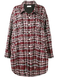 Faith Connexion Embellished Checked Coat Red