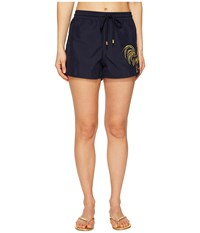 Vilebrequin Year Of The Rooster Drawstring Shorts Cover Up Navy Embroidered Women's Swimwear