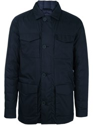 Z Zegna Pocketed Padded Jacket Blue