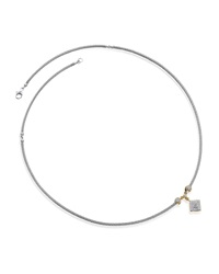 Alor Gray Stainless Steel Cable And Diamond Square Necklace