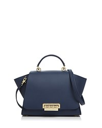 Zac Posen Eartha Iconic Soft Top Leather Satchel Blue Gold