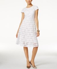 Alfani Lace Fit And Flare Dress Created For Macy's Bright White