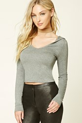 Forever 21 Heathered Knit Hoodie Top Heather Grey