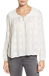 Velvet By Graham And Spencer Women's Mandala Embroidered Lace Up Blouse Off White