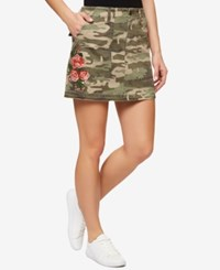 Sanctuary Embroidered Camo Print Skirt Safari Camo