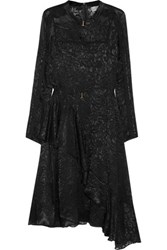 Preen By Thornton Bregazzi Amendine Lace Trimmed Devore Chiffon Dress Black