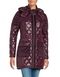 Belle By Badgley Mischka Velour Trimmed Quilted Down Coat Burgundy