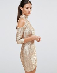 Tfnc High Neck Sequin Mini Dress With Cold Shoulder Gold Cream