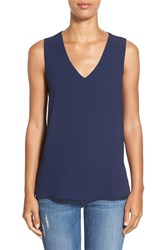 Women's Gibson V Neck Sleeveless High Low Blouse Navy