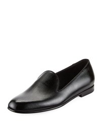 Giorgio Armani Vernice Textured Leather Loafer Black
