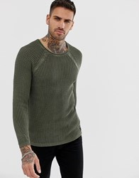 Replay Muscle Fit Mesh Jumper In Olive Green