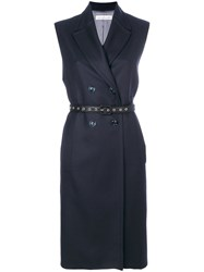 Golden Goose Deluxe Brand Sleeveless Double Breasted Coat Women Cupro Viscose Wool M Blue