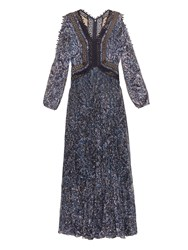 Rebecca Taylor Deep V Neck Abstract Print Pleated Dress