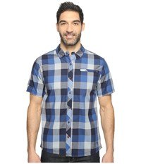 Smartwool Summit County Retro Plaid Dark Blue Men's Short Sleeve Button Up