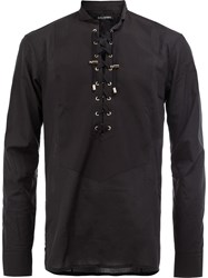 Balmain Lace Up Front Shirt Black