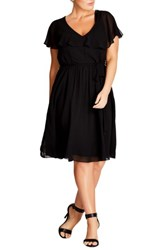 City Chic Plus Size Women's Ruffle V Neck Fit And Flare Dress Black