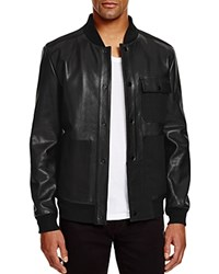 T By Alexander Wang Leather And Canvas Bomber Jacket Black