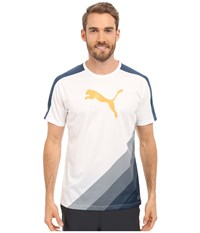 Puma It Evotrg Cat Graphic Tee Atomic Blue Safety Yellow Men's Short Sleeve Pullover White