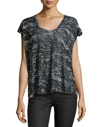 F.T.B By Fade To Blue V Neck Rolled Cuff Burnout Tee Black Gray