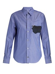 Toga Abstract Patch Striped Cotton Shirt Blue