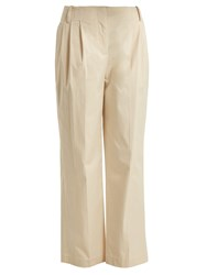Diane Von Furstenberg Pleat Front Cotton Poplin Trousers Beige