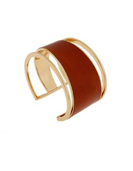 Rachel Zoe Tan Leather And 12K Gold Plated Cuff Bracelet