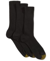 Gold Toe Women's 3 Pk. Non Binding Extended Size Crew Socks Black