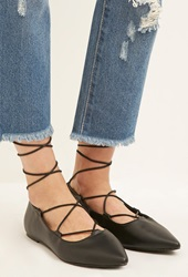 Forever 21 Faux Leather Lace Up Flats Black
