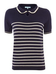 Dickins And Jones Stripe Knit Polo Navy