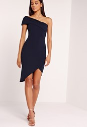 Missguided Asymmetric Bodycon Dress Navy Blue