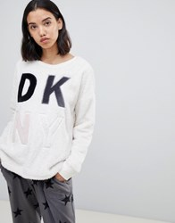 Dkny Fluffy Long Sleeve Logo Top Just Nude White