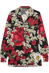 Dolce And Gabbana Floral Print Stretch Silk Shirt Red