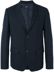 A.P.C. Two Button Jacket Men Cotton Polyamide Viscose L Blue