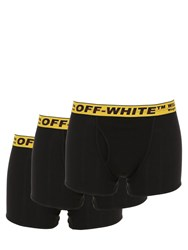 Off White Pack Of 3 Cotton Blend Boxer Briefs Black