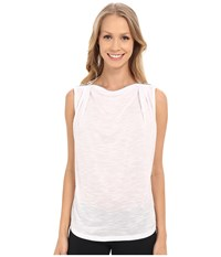 Zobha Sleeveless Drape Top W Zipper Neckline Bright White Women's Sleeveless