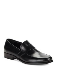 Karl Lagerfeld Leather Round Toe Loafers Black