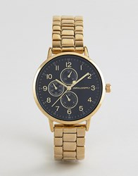 beab91887e5438 Asos Design Gold Plated Skinny Bracelet Watch With Sub Dials