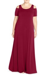 Mynt 1792 Cold Shoulder Maxi Dress Plus Size Red