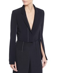 Cushnie Et Ochs Cropped Flare Sleeve Stretch Cady Jacket W Topstitching Black