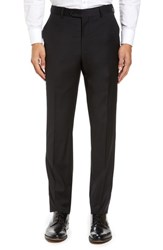 Strong Suit Men's Flat Front Stretch Solid Wool Trousers Black