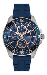 Guess W0798g2 Men S Rubber Strap Sport Watch Blue
