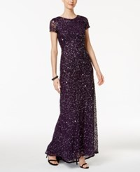 Adrianna Papell Beaded Ombre Gown Purple